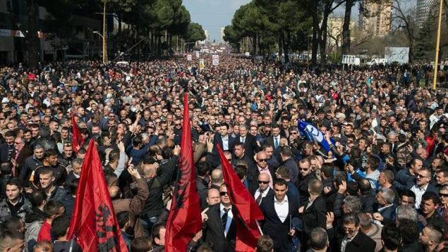 Protesters in Albania try to smash into government HQ